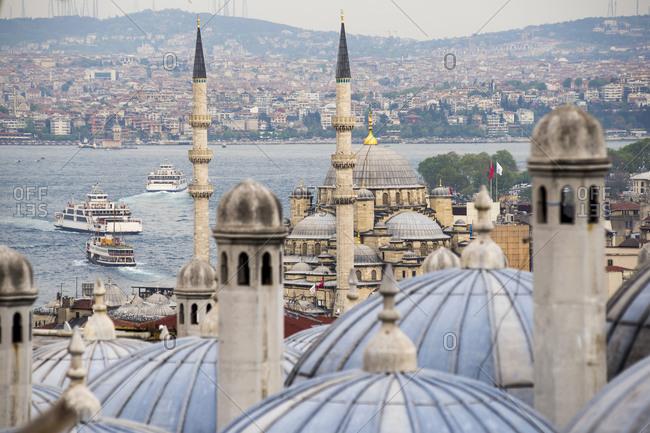 New Mosque (Yeni Cami) seen from Suleymaniye Mosque, Istanbul, Turkey