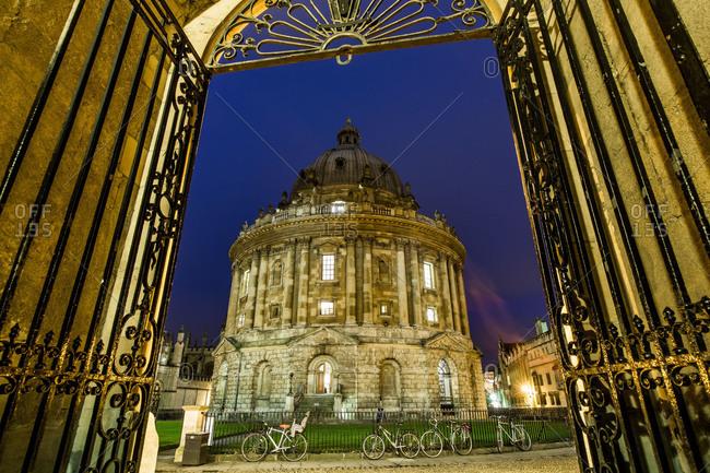 Oxford, England, United Kingdom - December 19, 2013: Radcliffe Camera at night, Oxford, Oxfordshire, England, United Kingdom
