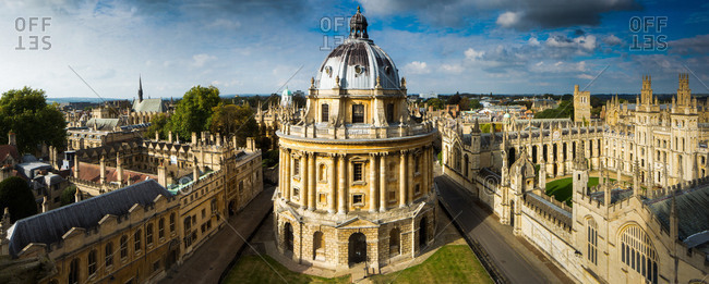 Oxford, England, United Kingdom - October 2, 2014: Radcliffe Camera, from St. Marys Church, Oxford, Oxfordshire, England, United Kingdom