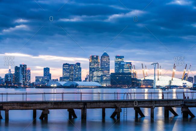 London, England, United Kingdom - February 16, 2013: Canary Wharf from London Docklands, London, England, United Kingdom