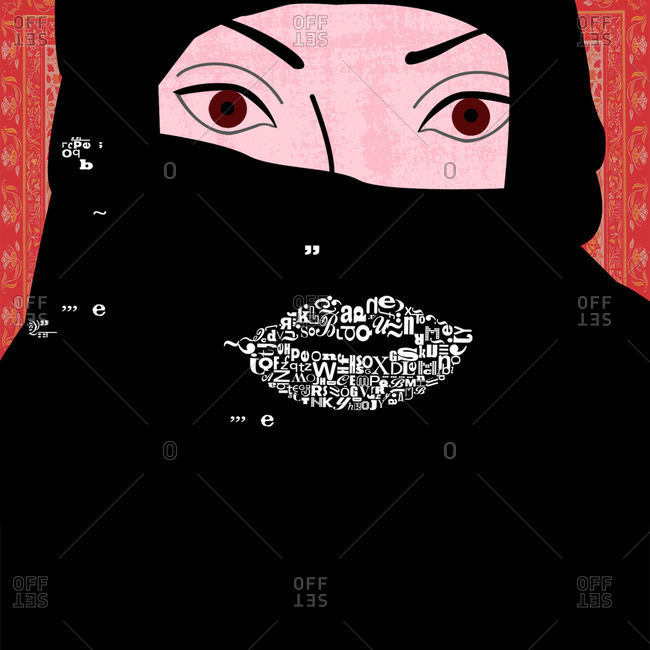 Woman wearing hijab with letters where her mouth would be