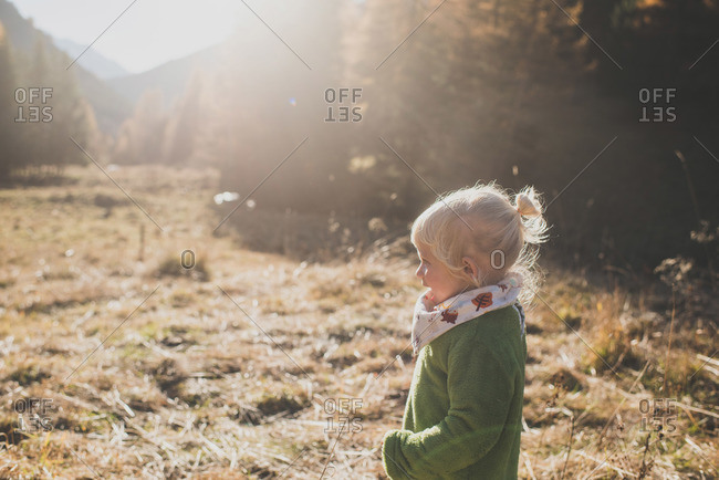 Little girl outside on a sunny day