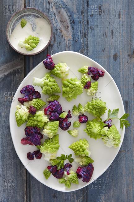 Purple cauliflower and Romanesco broccoli
