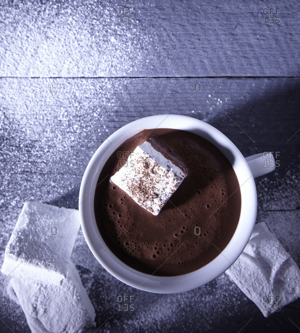 Mug of dark hot chocolate with marshmallows