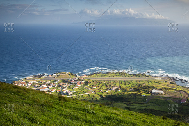 View over Corvo village and Flores island, Azores, Portugal