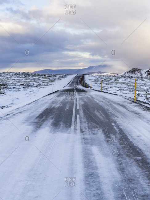 Road through wintery rural Iceland