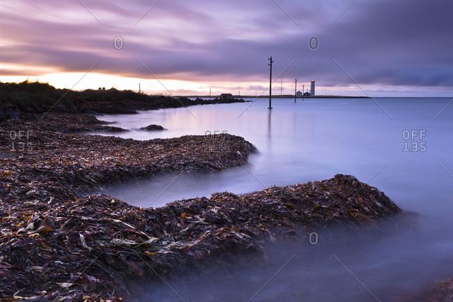 Long exposure shot of Icelandic coast