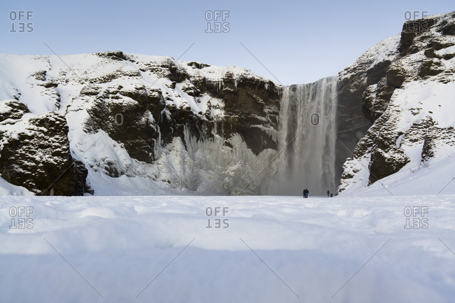 Waterfall in Iceland in winter