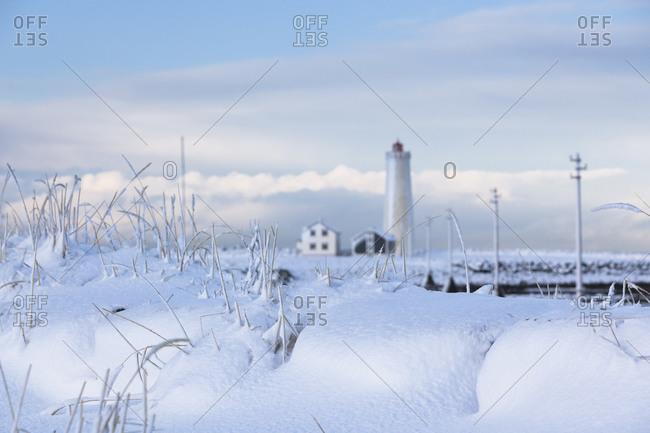 Lighthouse in Icelandic winter