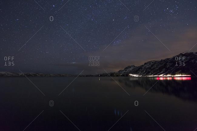 Night sky over Lake Kleifarvatn