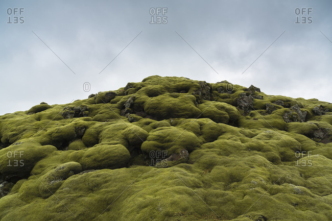 Mossy rock peak in Iceland