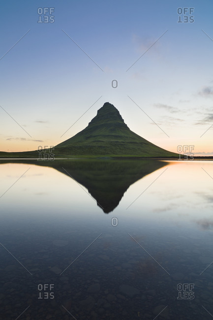 Mt. Kirkjufell reflected at low light