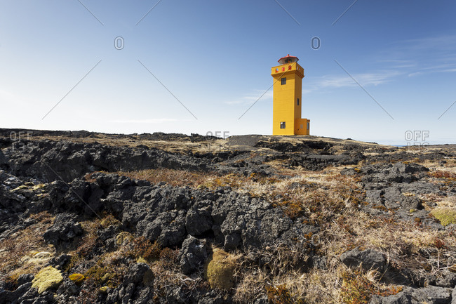 Yellow lighthouse in Iceland