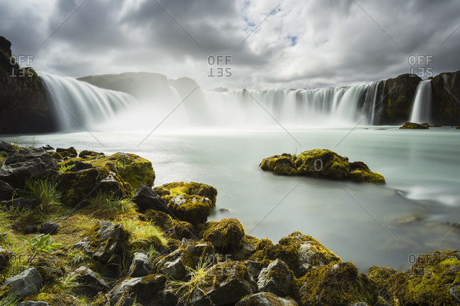 Godafoss waterfall and landscape in Iceland