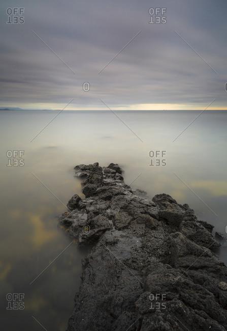 Rocky outcropping into Icelandic sea