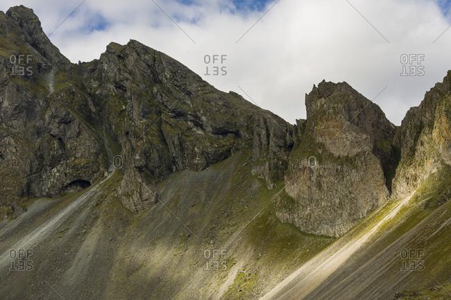 Jagged stone peaks in Icelandic