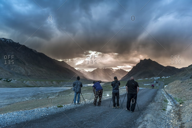 Photographers in Spiti Valley in Himachal Pradesh, India