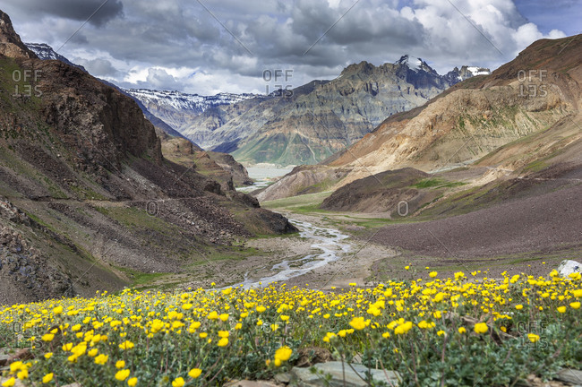 Spiti Valley of the Himalaya Mountains in Himachal Pradesh, India