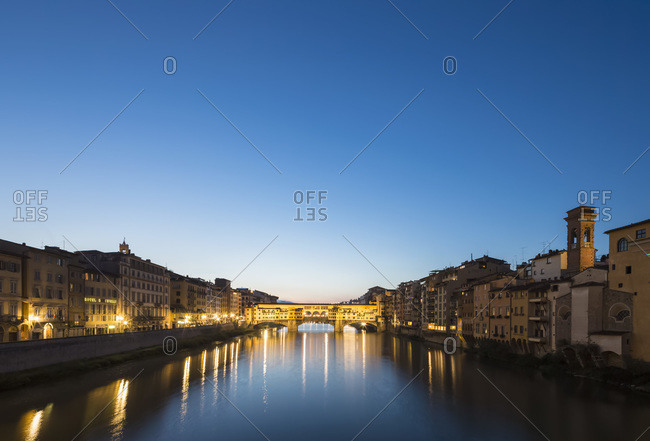 View of Arno River and Ponte Vecchio in the evening