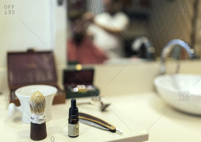 Utensils in a barber shop