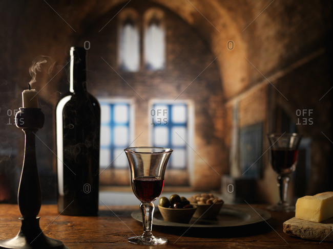 Wine and cheese in a castle in France