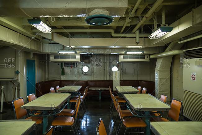Nagoya, Japan - August 14, 2015: Mess hall in the museum of the Antarctic Research Ship Fuji, Minatomachi, Nagoya, Japan