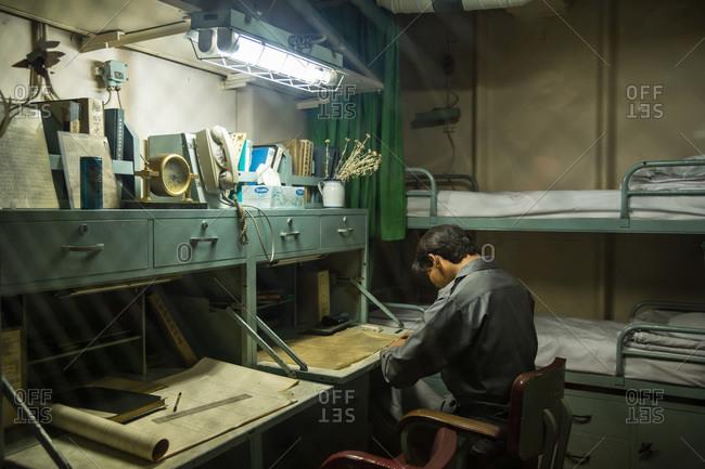 Nagoya, Japan - August 14, 2015: Men's quarters in the museum of the Antarctic Research Ship Fuji, Minatomachi, Nagoya, Japan