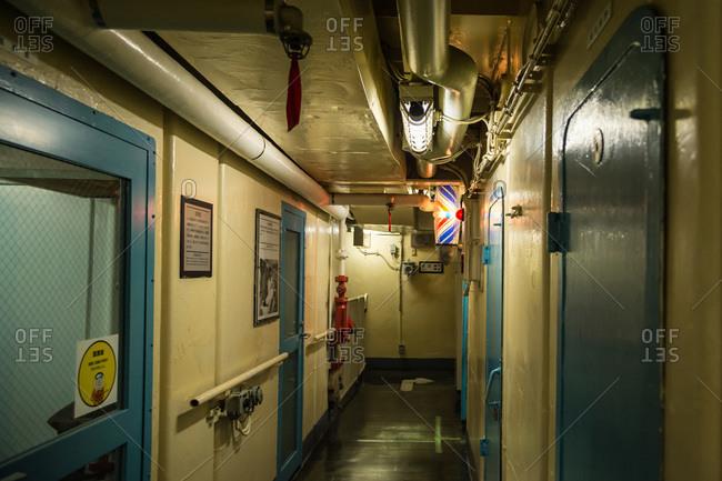 Nagoya, Japan - August 14, 2015: Hallway underground in the museum of the Antarctic Research Ship Fuji, Minatomachi, Nagoya, Japan