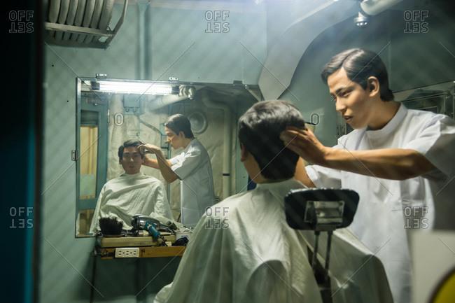Nagoya, Japan - August 14, 2015: Barber shop in the museum of the Antarctic Research Ship Fuji, Minatomachi, Nagoya, Japan