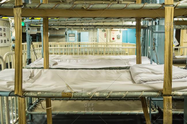 Nagoya, Japan - August 14, 2015: Sleeping quarters in the museum of the Antarctic Research Ship Fuji, Minatomachi, Nagoya, Japan