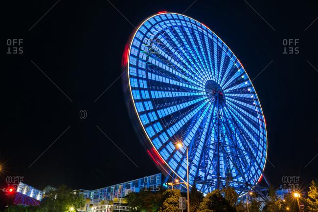 Osaka, Japan - September 14, 2015: Tempozan Ferris Wheel at night in Osaka, Japan