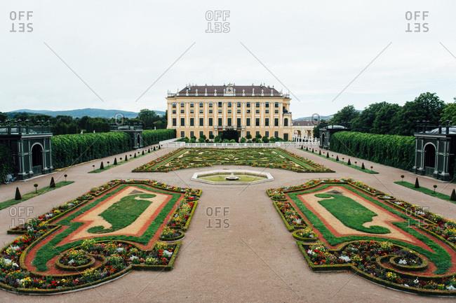 Vienna, Austria - July 29, 2015: Schonbrunn Palace and gardens in Vienna