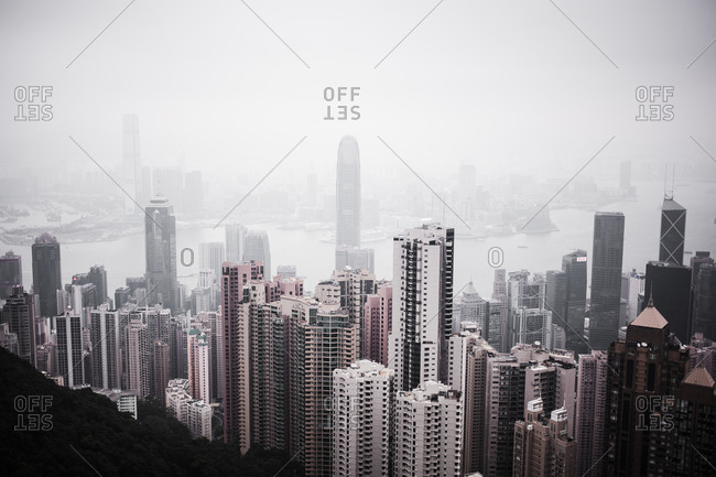 Hillside over look of Hong Kong on foggy day