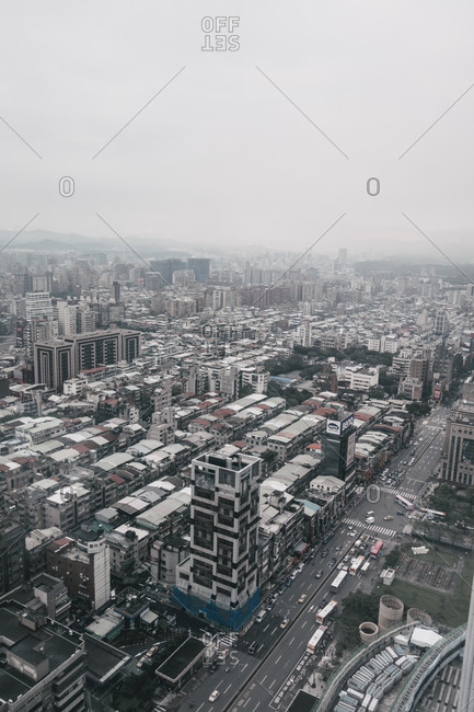 Overlooking a city with modern buildings