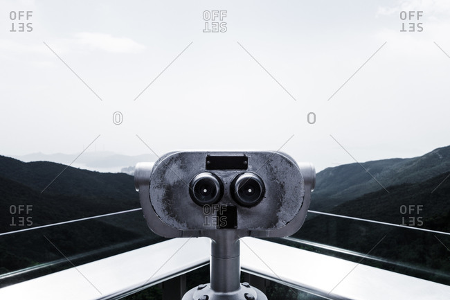 Tower viewer overlooking a mountain landscape