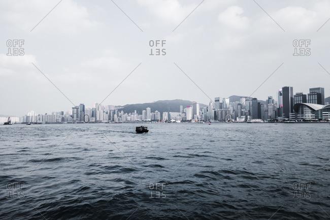 Hong Kong skyscrapers seen from Victoria Harbor