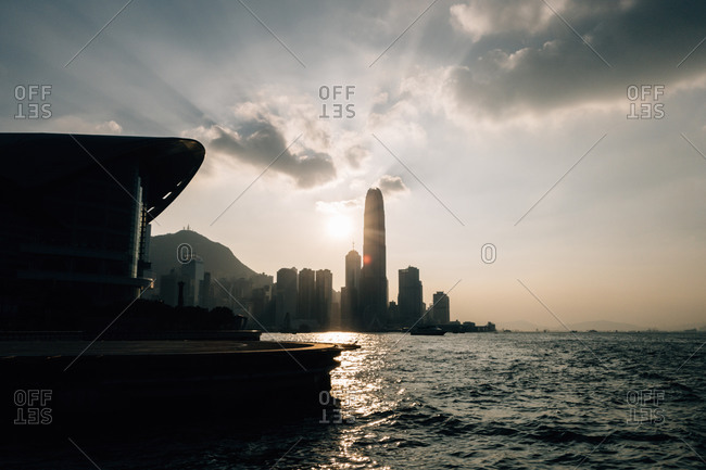 Hong Kong skyline silhouetted at dusk