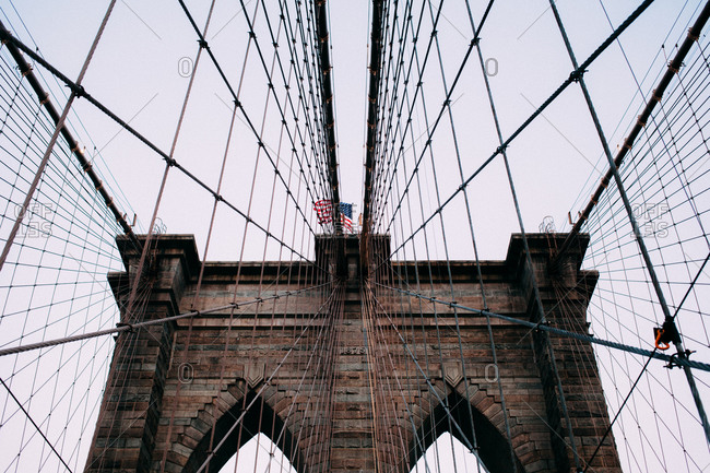 Towers and cables of the Brooklyn Bridge