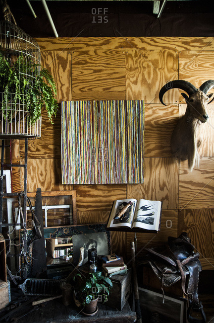 Brooklyn, New York - April 13, 2013: Interior of painter Christopher Dunbrack's apartment in Dumbo