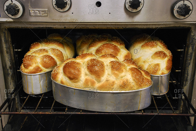 Freshly baked challah bread in oven
