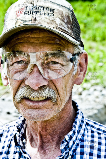 "Herkimer, New York - June 4, 2011: ""Crystal"" Tom, a miner at Herkimer Diamond Mines"