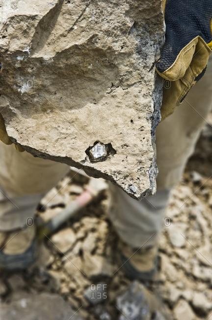 Herkimer diamond in a rock