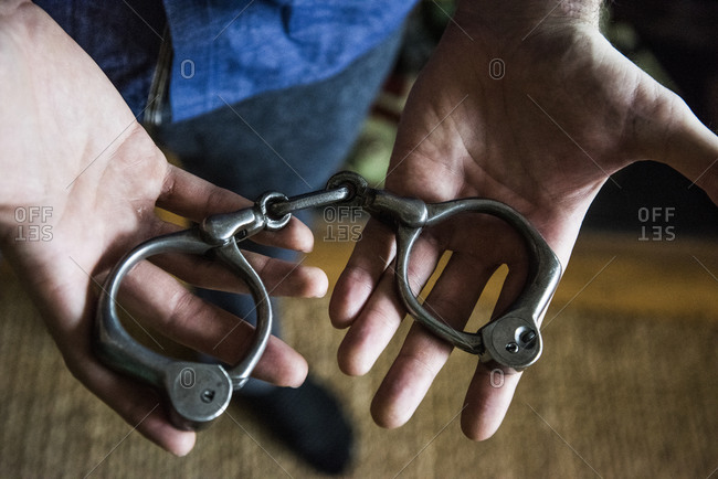 New York, New York - May 29, 2014: Houdini's handcuffs at magician Joshua Jay's home