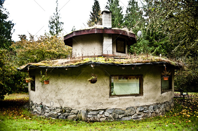 Sedro-Woolley, Washington - November 16, 2012: Round house built by SunRay Kelley