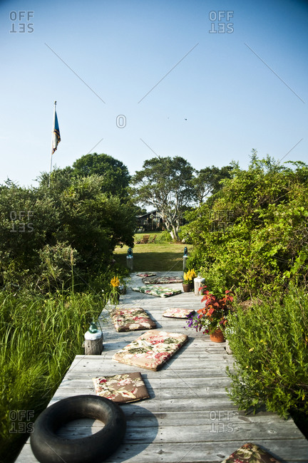 Montauk, New York - July 23, 2011: Dock with cushions at Chandelier Creative's Surf Shack