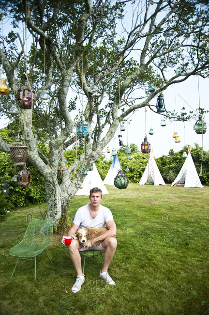 Montauk, New York - July 23, 2011: Chandelier Creative founder Richard Christiansen at Surf Shack which he created for employees