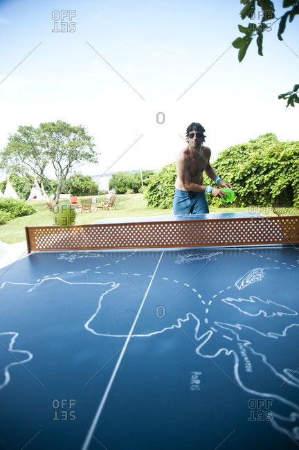 Montauk, New York - July 23, 2011: Table tennis at Surf Shack which Chandelier Creative founder Richard Christiansen created for employees