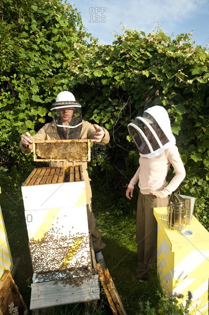 Montauk, New York - July 23, 2011: Chandelier Creative founder Richard Christiansen at the Surf Shack apiary