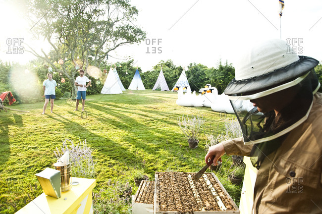 Montauk, New York - July 23, 2011: Beehives and tipis at Surf Shack which Chandelier Creative founder Richard Christiansen created for employees