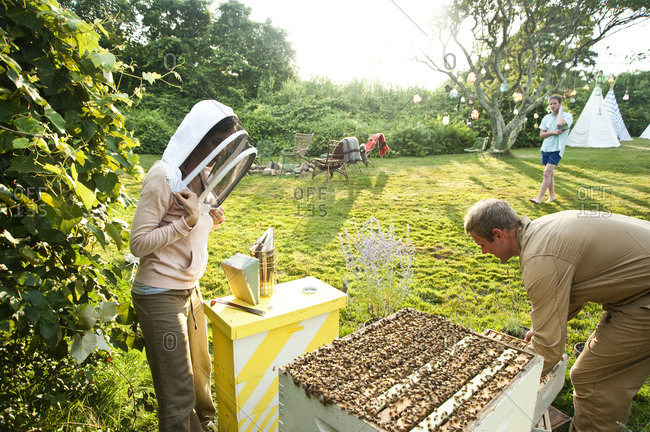 Montauk, New York - July 23, 2011: Beekeeping at Surf Shack which Chandelier Creative founder Richard Christiansen created for employees